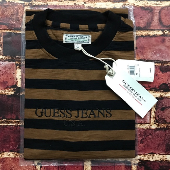 254e91202b82 Guess by Marciano Shirts | Guess Striped Tee 1981 Usa Asap Brown ...